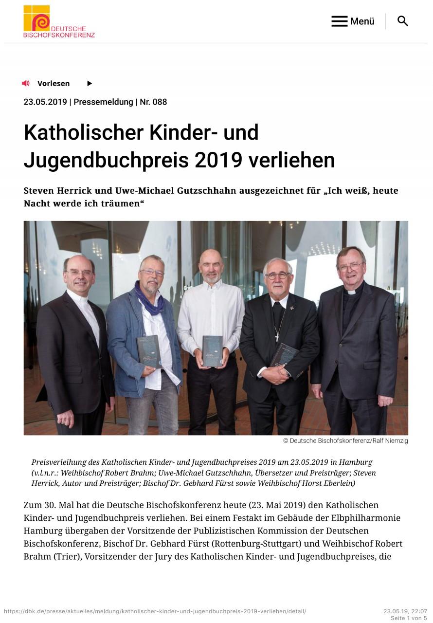 Katholischer Kinder- und Jugendbuchpreis 2019 verliehen - Deutsc
